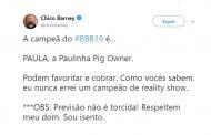 Blogueiro famoso aponta a lagoassantense Paula como favorita para vencer o BBB 19