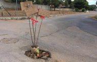 Com cocos e placas irônicas, moradores do Praia Angélica tentam chamar atenção do prefeito