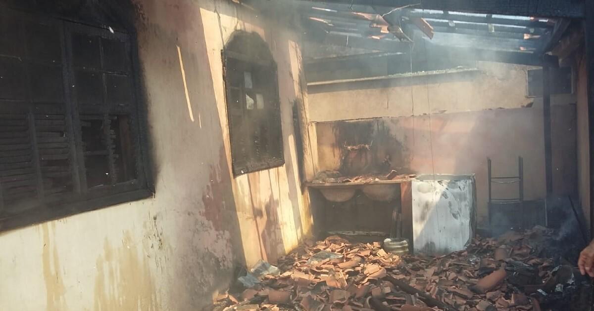 Cachorra morre após incêndio em mata do Parque Aeronáutico atingir residência no Santos Dumont
