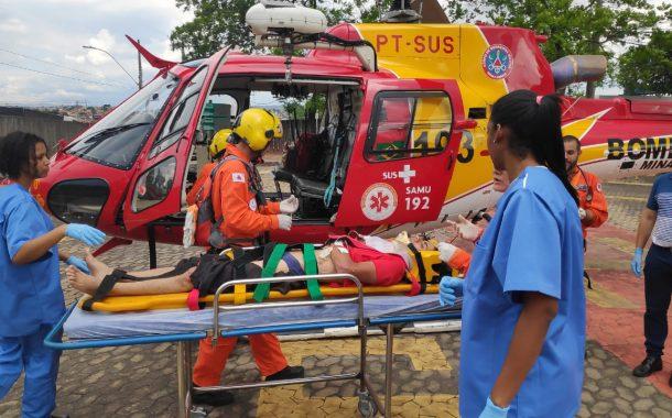 Helicóptero socorre vítima de acidente em São José da Lapa