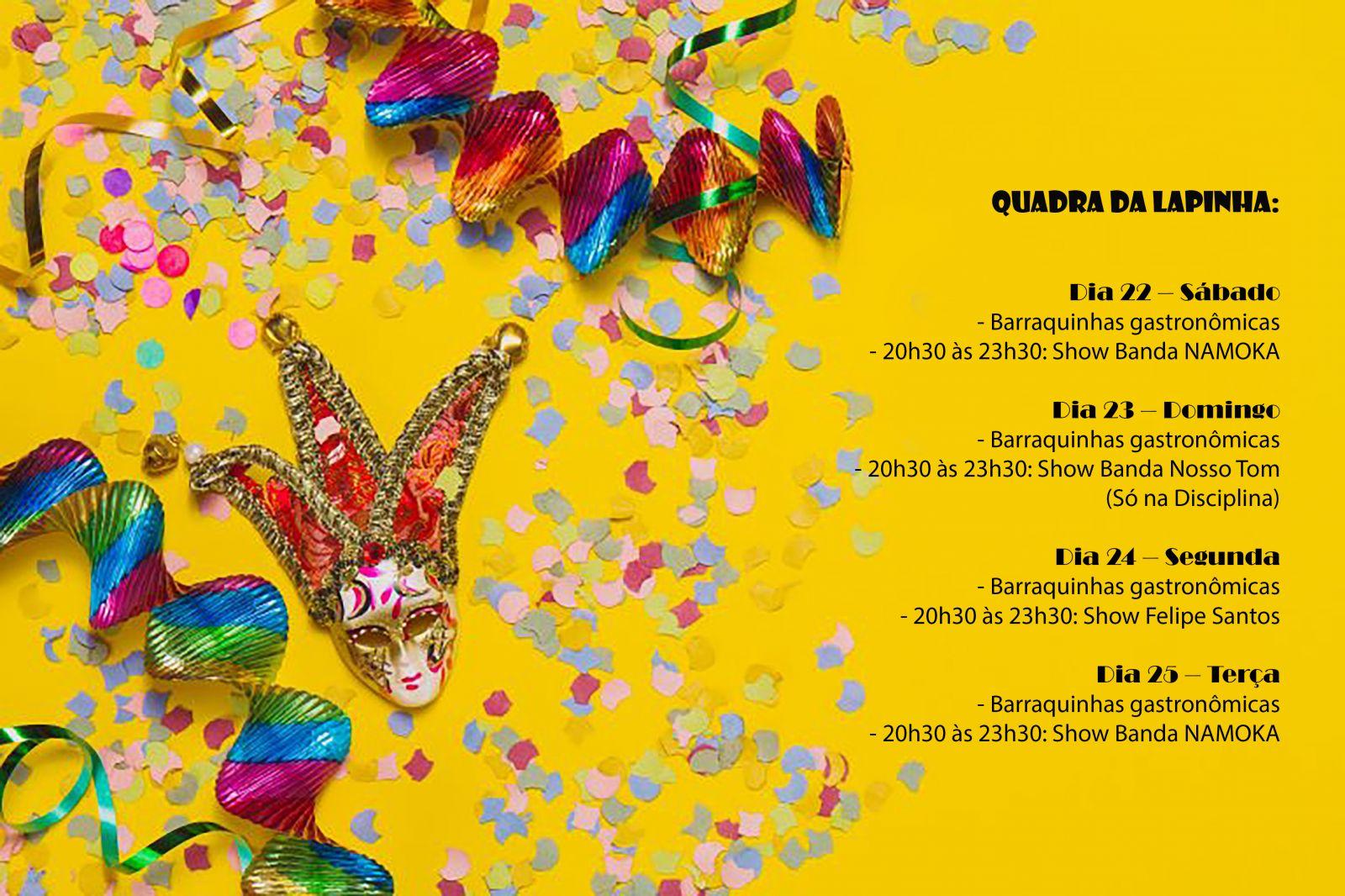 Programação Carnaval Lapinha Lagoa Santa