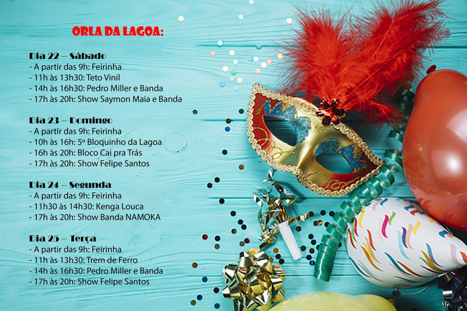 Programação carnaval 2020 orla da Lagoa
