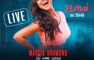 Imperdível: cantora mineira Márcia Drumond faz live solidária hoje, dia 21, às 19h45, direto de sua casa em Lagoa Santa!
