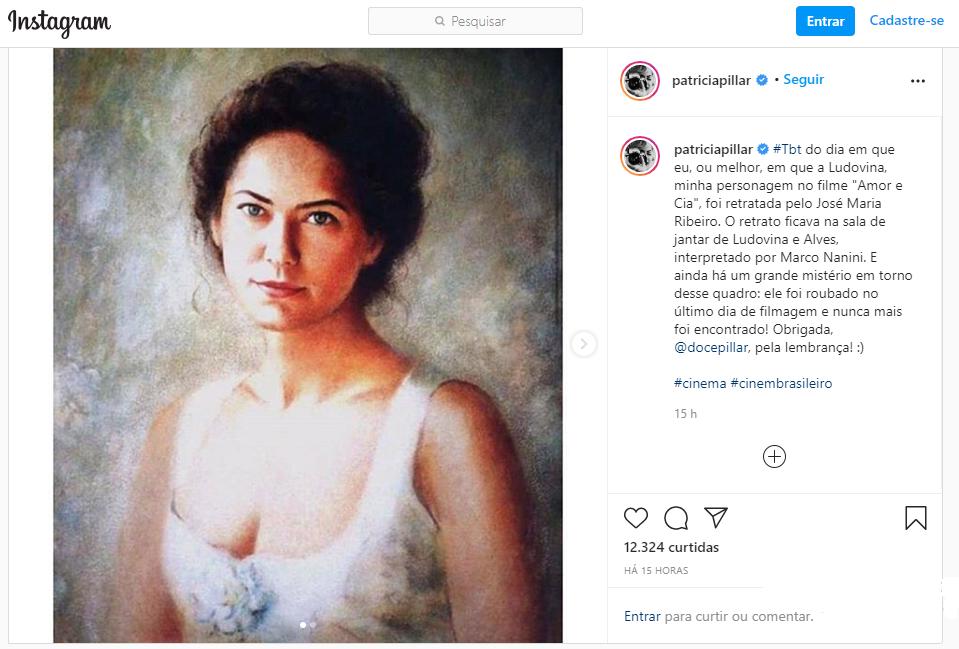 Patrícia Pillar relembra obra feita pelo artista, já lagoassantense, José Maria Ribeiro