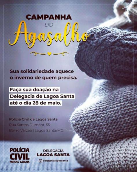 Polícia Civil de Lagoa Santa arrecada agasalhos para o inverno
