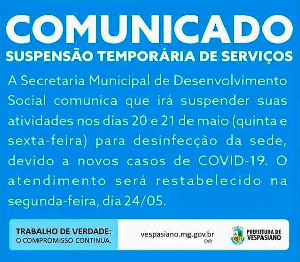 Prefeitura de Vespasiano informa que os atendimentos estão suspensos até segunda-feira