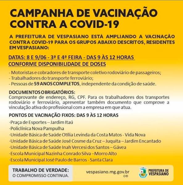 Prefeitura de Vespasiano anuncia novo calendário de vacinação