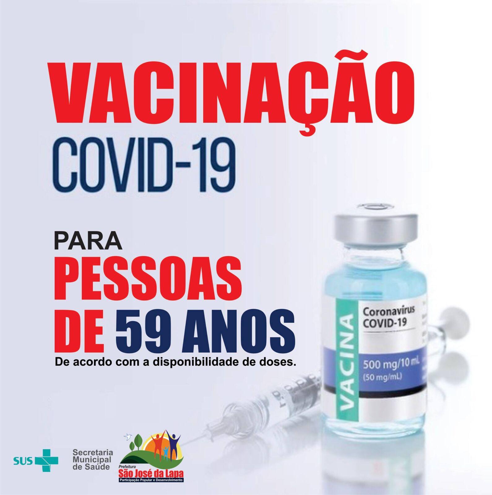 Prefeitura de São José da Lapa realiza vacinação contra Covid-19 para pessoas com 59 anos e sem comorbidades