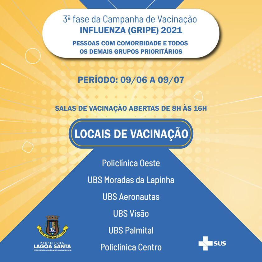 Prefeitura de Lagoa Santa inicia terceira fase da campanha de vacinação contra a gripe influenza (H1N1)