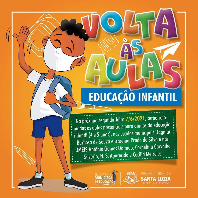Prefeitura de Santa Luzia anuncia retorno das aulas presenciais de parte das escolas do município