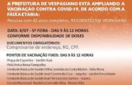 Prefeitura de Vespasiano anuncia imunização para nova faixa etária