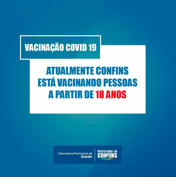 Prefeitura de Confins ratifica vacinação para 18 anos