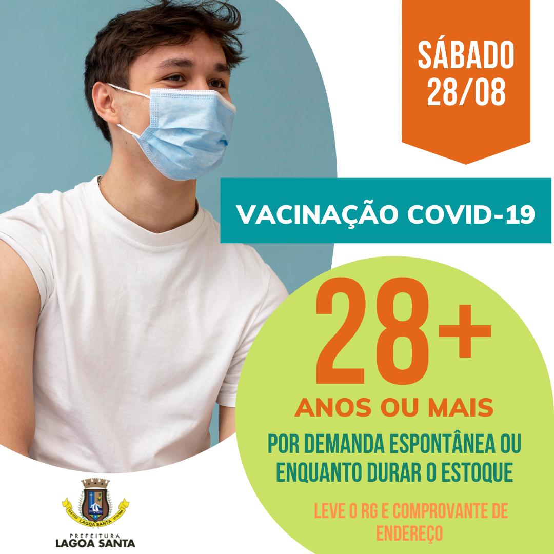 População acima de 28 anos poderá se vacinar no próximo sábado em Lagoa Santa